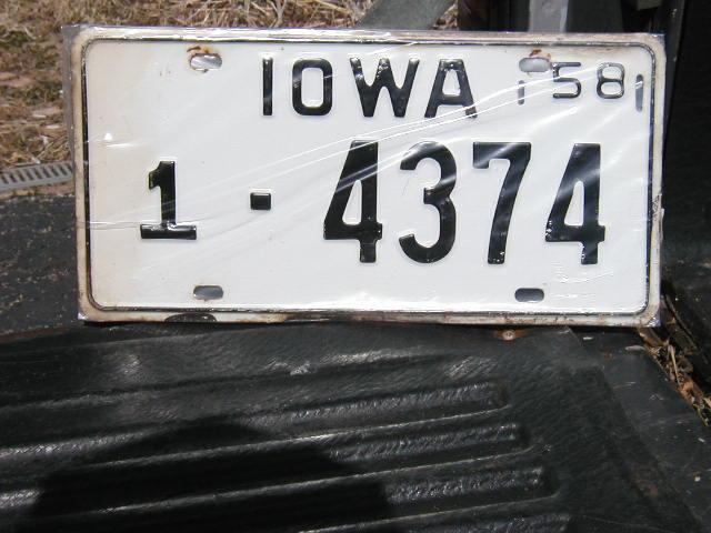 1958 Iowa Plate