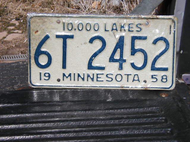1958 Minnesota Plate