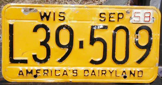 1958 Wisconsin Plate